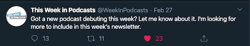This Week In Podcasts tweet